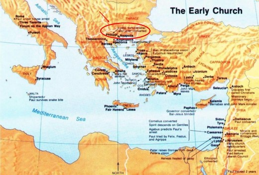 This actual map will show the early church that mentions Philippi