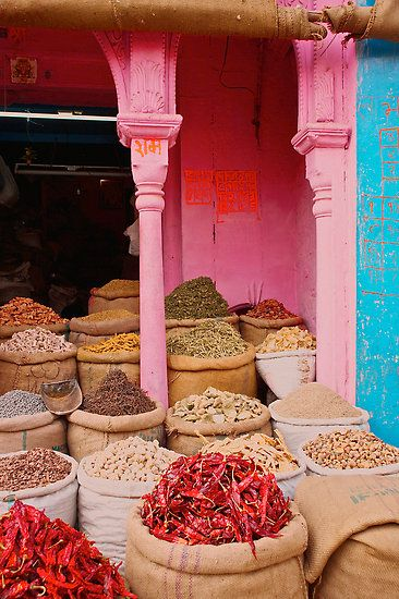 Food for sale in a marketplace in Jaipur