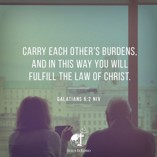 This photo is about the verse found in Galatians 6:2 in NIV