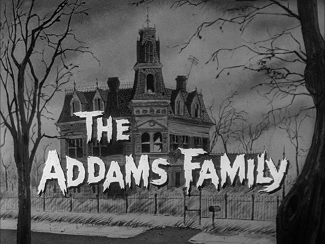 The Addams Family opening title card showing the Addams family house.
