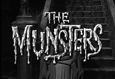 The Munsters opening title card showing Lily (Yvonne DeCarlo) and the view inside the house from the front door.