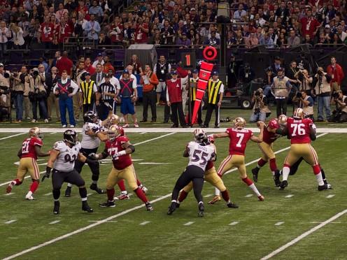 San Francisco 49ers quarterback Colin Kaepernick attempts a pass in Super Bowl XLVII.