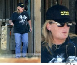 Debbie Rowe wearing three wolf moon, courtesy of TMZ (no photoshopping here)