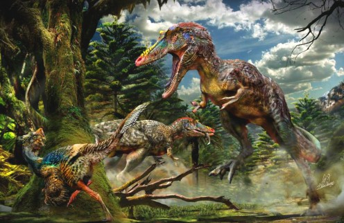 Two Qianzhousaurus chasing an oviraptorosaur, as depicted by Chuang Zhao.