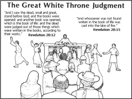 This photo deals with The Great White Throne Judgment in Revelations 20:11-15