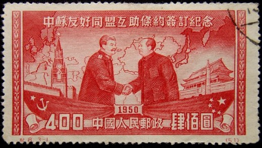 Postage stamp with Mao and Stalin.Photo Pixabay