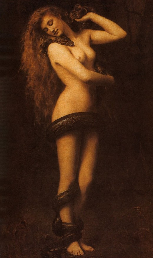Lilith shown with the serpent of Biblical fame.