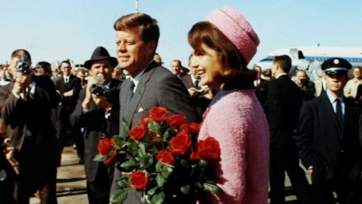 President John F. Kennedy shown with First Lady Jackie Kennedy in 1963 only moments before his tragic murder in downtown Dallas.