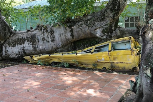 Hurricane damage to a School bus (fortunately it was empty at the time), Dominica
