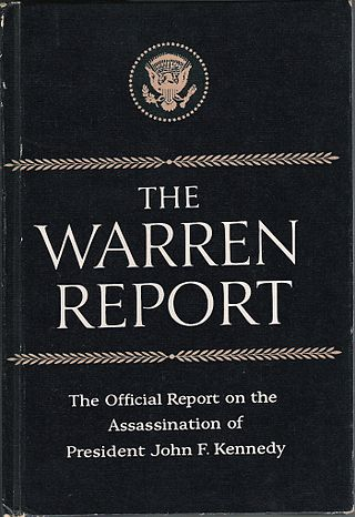 This is the book cover of Warren Report by Warren Commission