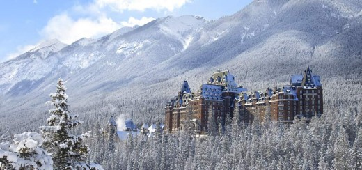 The Beautiful Banff Springs Hotel, Nestled in the Rocky Mountains in Scenic Banff, Alberta, Canada.