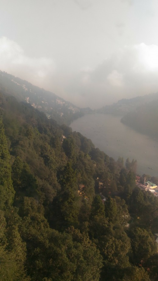 A picture of Naini Lake taken from the rope car