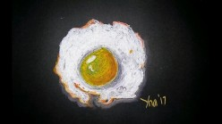 How to Draw a Sunny Side up Egg Using Oil Pastels on Black Paper