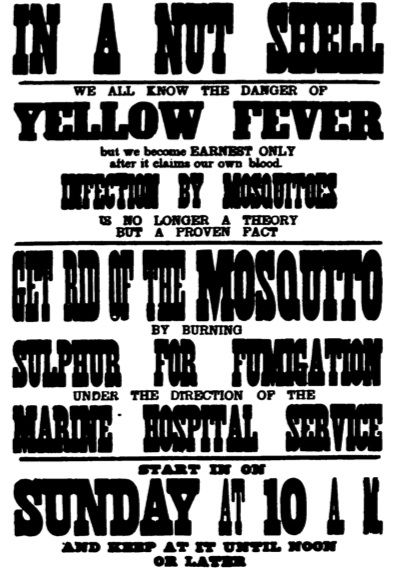 When Dr. Walter Reed proved that Yellow Fever was mosquito-born, it was still many years before a vaccine was developed. In the meantime, people set about killing as many as they could, using any method available,