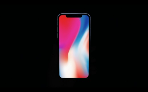 This is the iPhone X front view. it features a very bright OLED front screen.