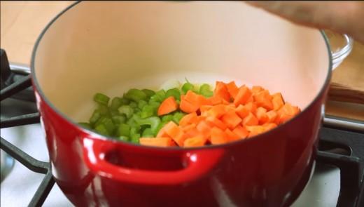 Add carrots, onions, mushrooms, garlic, and celery.