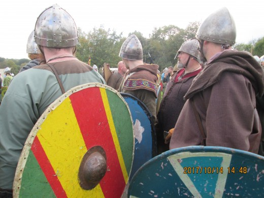 Close-up of the men mustering for the English shieldwall, showing their brightly painted shields - around this time many still carried the traditional round shields, although Harold's huscarls generally used the Frankish-style 'kite-shield'