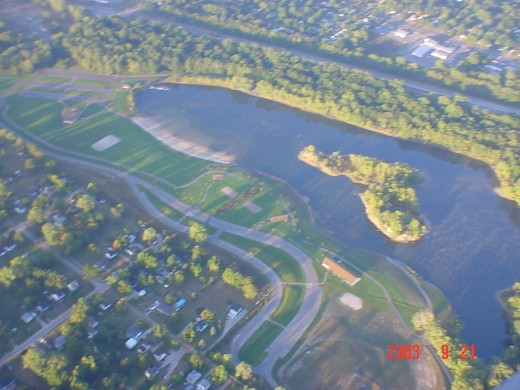 Aerial view of Hawk Island Park and Lake.