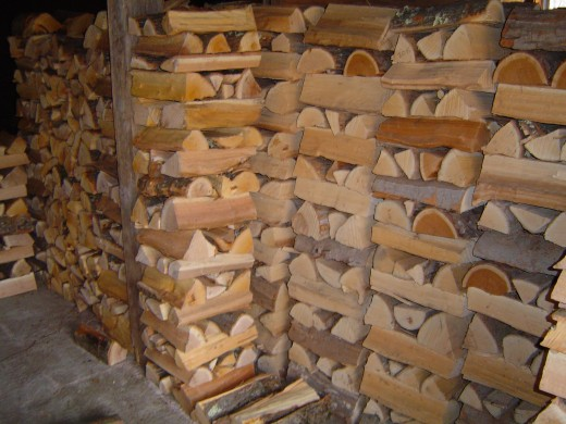 A well-stacked store of firewood.