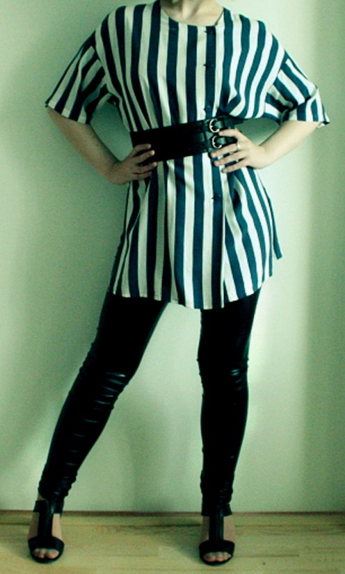 This great striped tunic is the perfect match for shiny Lycra leggings.