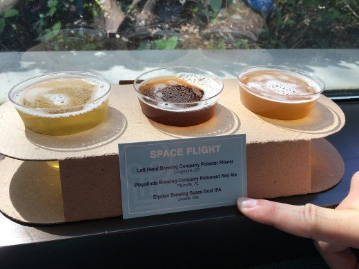 Each flight had a little card that said the name of the beer, the brewery that makes it, and where the brewery is located.