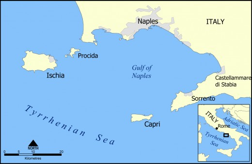 MAP OF THE AREA INCLUDING NAPLES, POMPEII, SORRENTO AND CAPRI