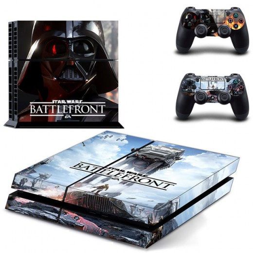 (Image of a PlayStation 4 slim console with a 'Star Wars: Battlefront' skin) The new PlayStation 4 console is neato.