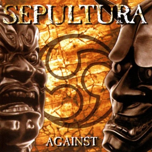 The cover of the album Against shows what looks like a Venn Diagram in the center. There are two images of masks that are typically worn during theatrical plays.