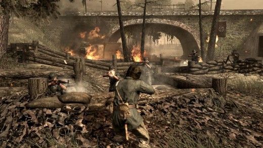 """(Image of 'not' Call of Duty: WWII, but of Call of Duty: World at War third-person view) - but certainly reminds you of the HQ space in """"WWII"""" multiplayer - except there are no enemies at the US military base"""