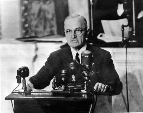 Harry S. Truman speaking to Congress in 1947.