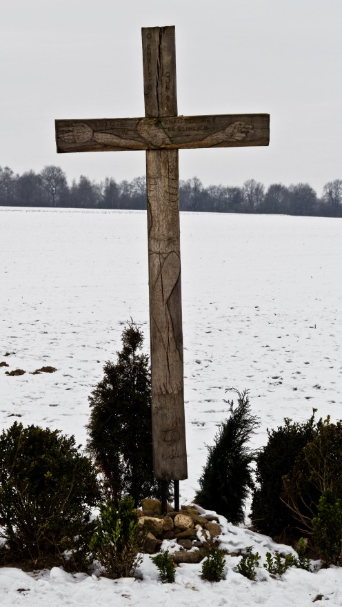 Wayside cross near Aachen in Orsbach, directly at the border between Germany and The Netherlands.