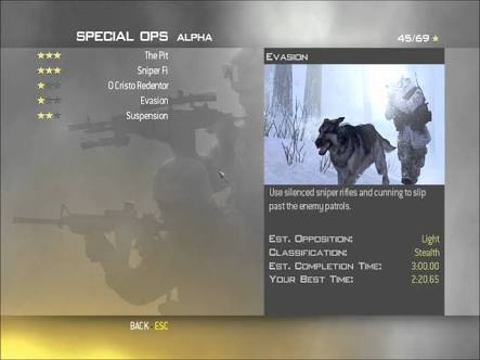 Special Ops Co-op Mode Menu in Call of Duty: Modern Warfare 2