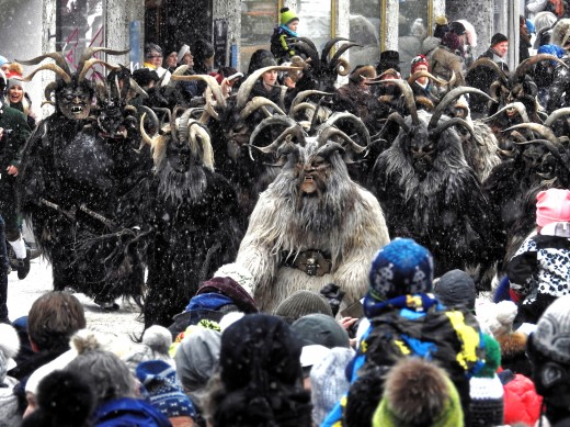 The Perchten are the monsters that scare away the winter ghosts and are said to be in Berchta's horde.