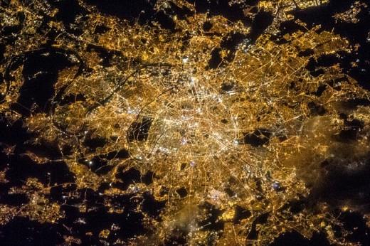 Satellite view of Paris at night