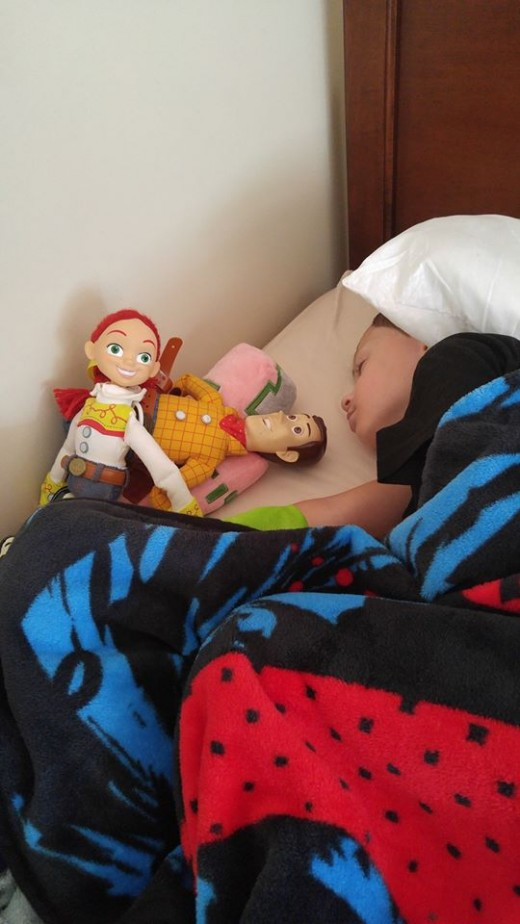 All tucked in at Ronald McDonald House on one of his doctor visits at Nemours Hospital in Orlando