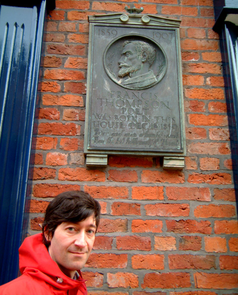 Richard Patterson in front of the birth place of Francis Thompson.