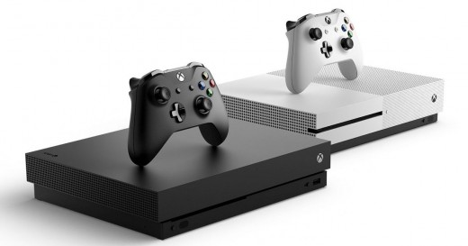 (Image - Xbox One X [left] and Xbox One S [right]) - a direct comparison between the Xbox One X (black) and the Xbox One S (white)