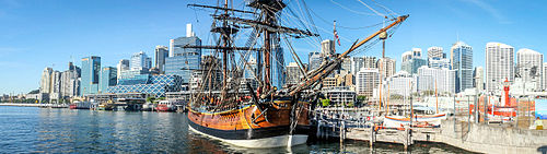 HMS Bark Endeavour - a replica ship at the Australian National Maritime Museum, Sydney