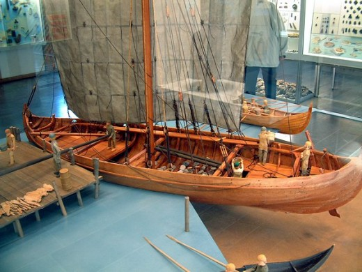 Model of a 'Knarr' or trading ship - unlike the faster longships these were deeper in draught and thus restricted to deeper channels (unsuitable for voyages of discovery or portage between rivers)