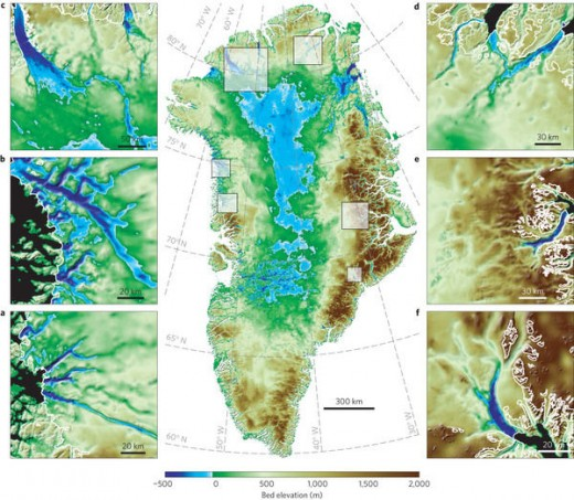 Greenland topographic - until the 10th Century settlers from east across the sea built around the fjords during a warm period. The later 'mini-Ice Age' saw the native Inuit return to find the weakened Norsemen in their burial grounds. Mayhem ensued