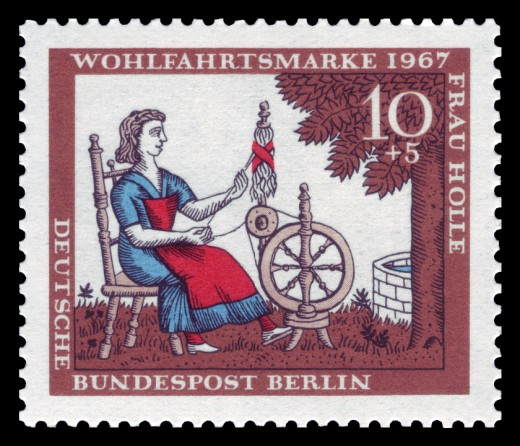 """Berchta sitting at the spinning wheel, spinning our fate, a HUGE correlation with witches in the Middle Ages who used distaffs to """"fly"""" (spindles)."""