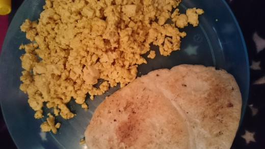 Tofu scramble and gluten free pancakes