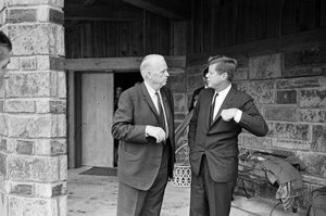 John F. Kennedy at the Kerr Ranch just south of Poteau