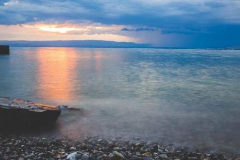 Sea Beach Sunset Stones (Nature)