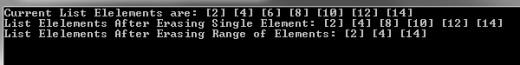 Pic: Erase Range of C++ List Elements - Program Output