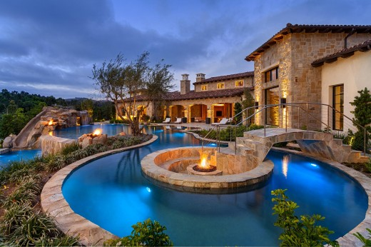 an outdoor pool oasis