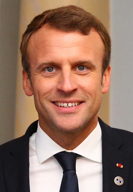 Emmanuel Macron (above) is the current President of France. Donald Trump (below) is the current President of the United States.