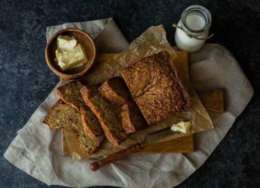 Delicious banana bread just waiting to get eaten!