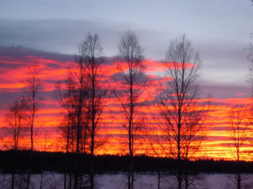 Northern Sweden, winter's setting in fast - although glorious to see in these parts, sunset brings on the cold!