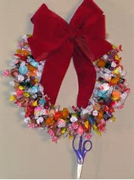 Candy Wreaths made on wire coat hangers